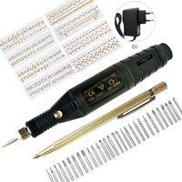 전기 조각 펜, DIY 네일 가죽 도구, 미니 드릴 그라인더 조각사 펜, 유리 세라믹 플라스틱 보석 나무 도구용, 40 개