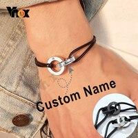 Vnox Custom שם שלוב מעגל צמיד גברים נשים מתכוונן אורך שרשרת חריטה ראשונית מזדמן זוג מתנה