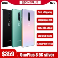 Globale Rom OnePlus 8 5G Handy Snapdragon865 OctaCore 6.55 ''90Hz AMOLED Bildschirm 48MP 4300mAh NFC android10 Smartphone
