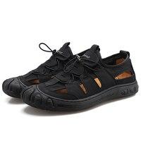 Sandals men's summer 2021 new men's casual hollow shoes non-slip hole shoes soft bottom leather sandals men's