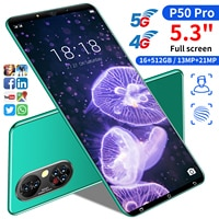 P50 Pro 5,3-zoll Smartphones 16GB + 512GB 4950mah Volle Display Globale Version Android Telefons 21mp kamera Unterstützung Google 5G Telefon