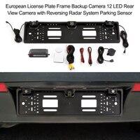 Câmera de ré com 12 leds, para fixação da placa de identificação europeia, acessório automotivo com sensor de estacionamento