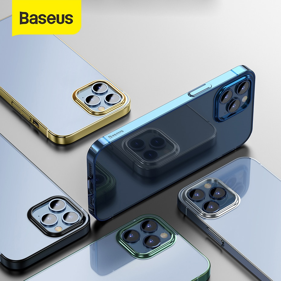 Baseus Ultra fina para iPhone 12 cubierta caso de TPU suave Funda para iPhone 12 Pro Max 12 caso transparente del teléfono caso de la contraportada