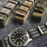 프리미엄 품질 헤링본 20mm 22mm 안전 벨트 시계 밴드 나일론 나토 스트랩 007 제임스 본드 군사 스트라이프 교체 시계