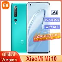 Globale Version Xiaomi Mi 10 5G Smartphone 8GB + 256GB Snapdragon 865 Octa Core 100 Millionen Pixel NFC 90HZ AMOLED Gebogene Bildschirm