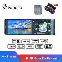 Podofo 4012b-rádio automotivo, 1 din, áudio estéreo, bluetooth, receptor estéreo, suporte para câmera de visão traseira, controle remoto no volante