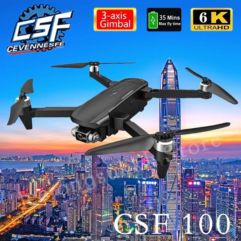 Dron cuadricóptero profesional plegable CSF100, 6K, HD, 3 ejes, cámara de cardán, GPS, WIFI, FPV, Motor sin escobillas, 2021