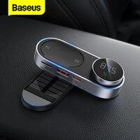 Baseus שמש FM מודולטור משדר Bluetooth 5.0 דיבורית אלחוטי MP3 נגן מגנטי USB מטען לרכב AUX אודיו לרכב