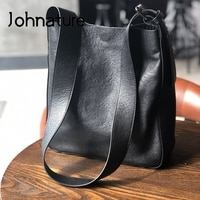 Johnature Leisure Women Big Bag 2021 New Genuine Leather Wide Belt Bucket Bag Soft First Layer Cowhide Versatile Shoulder Bag