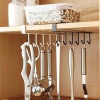 Gancho prateleira de armazenamento, armário, suporte de copos com 6 ganchos, fileira dupla, gancho pendurado para cozinha, colher, copo de café, organizador, prateleira de roupas