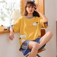 Sleepwear Loose Cute Cartoon Cotton Pajamas for Women Short Pants Short Sleeved Summer Spring Loungewear Home Clothing Homewear