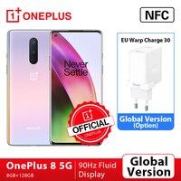 Globale Rom Oneplus 8 5G OnePlus Offizielle Shop Smartphone Snapdragon 865 Octa Core 8GB 128GB 6.55 ''90Hz Bildschirm 30W Ladegerät NFC
