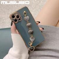 Musubo高級ケース用12プロマックス11 12ミニfundas coque iphone xr xs最大8プラス7プラス愛リストバンド女の子