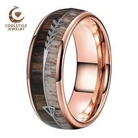 8MM Rose Gold Men Women Tungsten Ring Dear Antler Ring With Zebra Wood Dear Antler Arrows Inlay Comfort Fit