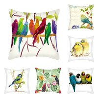 Cushion Covers Imitation Super Velvet Parrot Printed Single-sided Custom Pillowcases Dustproof Car Home Decoration 45*45cm 1pc