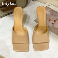 Eilyken 2021 Heels Fashion Soft Cozy PU Leather Peep Toe Shoe Womens Slippers Outdoor Designer Sandals Mule Femme Slides