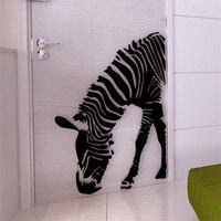 Zebra 3d Acrylic Mirrored Decorative Wall Stickers Living Room Entrance Sofa TV Background Black Home Decor Pegatinas De Pared