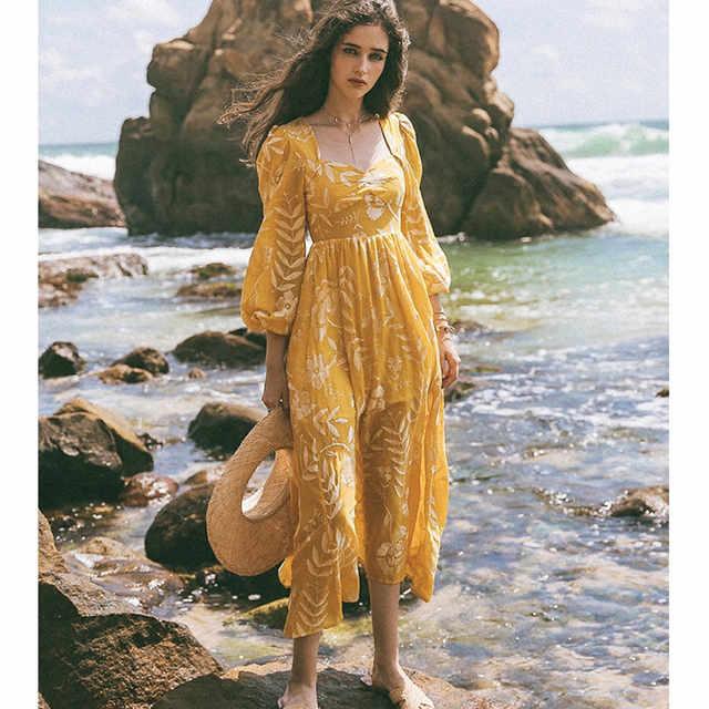 Original Design Aigyptos Fruhling Sommer Frauen Vintage Kleider Elegante Dunne Strand Casual