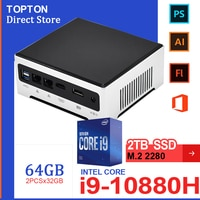 Topton 11th Gen Intel Mini PC Core i9 10880H i7-1165G7 2 * Lan 2 * DDR4 64GB 2 * M.2 SSD Desktop-Computer Nuc Pc Windows 10 Linux AC