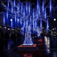 30cm 50cm 8 튜브 방수 유성우 샤워 비가 LED 문자열 조명 홈 트리 EU/US 플러그에 대 한 야외 크리스마스 장식