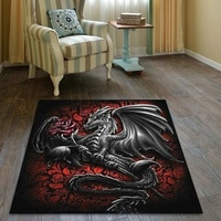 Black Dragon With Rose Soft Rugs Bedroom Living Room , Floor Mat, Non Slip Rugs, Halloween Rugs, Rugs Decor