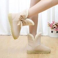 Women Snow Boots Warm Winter Casual Fur Ankle ShoesFemale Bowtie Non Slip Plush Suede Rubber Flat Slip On Fashion Ladies