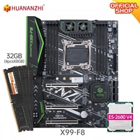HUANANZHI X99 F8 X99 Motherboard mit Intel XEON E5 2680 v4 mit 4*8G DDR4 Nicht-ECC speicher combo kit set NVME SATA 3,0 USB 3,0