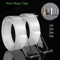 1/2/3/5m Nano Tape Reusable Double-Sided Adhesive Nano Traceless Tape Transparent Waterproof Wall Anti Slip Tape