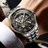 OUPINKE Men Mechanical Watch Sapphire Glass Automatic wristwatch Luxury Tungsten Steel 50m Waterproof Business Sport Men Watches