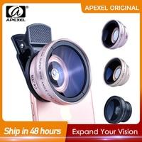 APEXEL 2in1 Objektiv 0,45 X Weitwinkel + 12,5 X Makro Objektiv Professionelle HD Telefon Kamera Objektiv Für iPhone 8 7 6S Plus Xiaomi Samsung LG