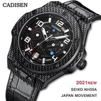 CADISEN 2021 Men Watches Automatic Mechanical Luxury Brand 100m Waterproof Swim Sapphire Japan NH35A Genuine Leather Male Watch