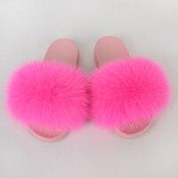 Women Shoes Home Fur Slippers Summer Flip Flops House Furry Slides Indoor Real Fur Fox Flat Ladies Sandals Adult Mules New 2020