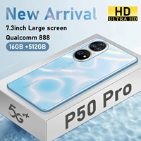 Neue Ankunft P50 Pro Smartphones 7,3 Zoll 2400*3200 16GB + 512GB 36MP + 64MP 6800mAh andriod 12 Qualcomm 888 Dual SIM Mobiltelefone
