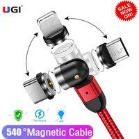 UGI-고속 충전 마그네틱 케이블, 3 인 1 마이크로 USB IOS USB C 1 M 2M 360 °/180 ° 고속 충전기 샤오미 삼성용 강력한 내구성