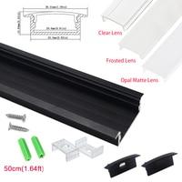 UnvarySam 5 0.5 M שחור שקוע אלומיניום LED פרופיל עם מקורבות יח'\אריזה באמצעות עבור רצועה בתוך 20 מ