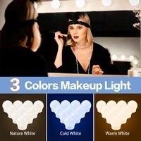 LED 메이크업 거울 조명, 3 색, 무단 조광 드레싱 테이블 램프 전구, USB 12V, 할리우드 화장대 조명, LED 거울