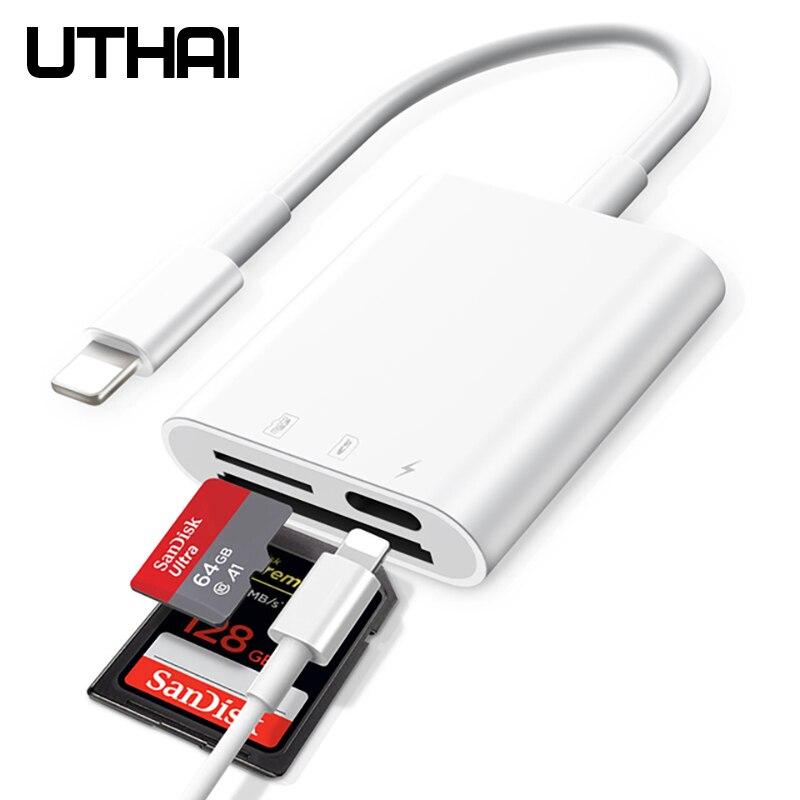 UTHAI-lector de tarjetas C11 Lightning, unidad Flash 4 en 1 Tipo C para Iphone 7, 8, 11, X, XR MAX, SD, TF, USB C a MicroUSB
