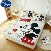 Disney Mickey Mouse Summer Sleeping Bed Mat Pillowcase Latex cushion Washable Frozen Princess Bed Topper Kids Mattress Cover Set