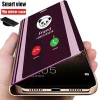 Anti-fallen Smart Flip Telefon Fall Für Huawei Nova 7I 8 7 6 Pro SE Y9A Y8P Y6P Y5P 2020 spiegel Halter Stehen Volle Schutzhülle