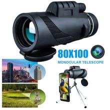 40x60 80x100 HD 단안 줌 망원경 Day/Night Vision BAK4 프리즘 옵션 어댑터 삼각대 조류 관찰 사냥 스포츠