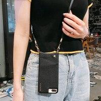 財布バッグクレジットカード電話ケースカバーでクロスボディストラップロングiphone 12 11プロxs最大xr × 6s 8 7プラスカバー
