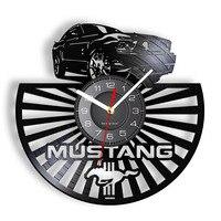 Wild Horse Speed Car Logo Vinyl Record Wall Clock Auto Garage Decor Sport Car Wall Watch Silent Non Ticking Clock Driver Gift