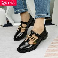 QUTAA 2021 כיכר חדשה עקבים נשים משאבות אביב נשי בוהן עגול נעליים יומיומיות מרי ג 'יין פרה פטנט עור אבזם מתכת Size34-40