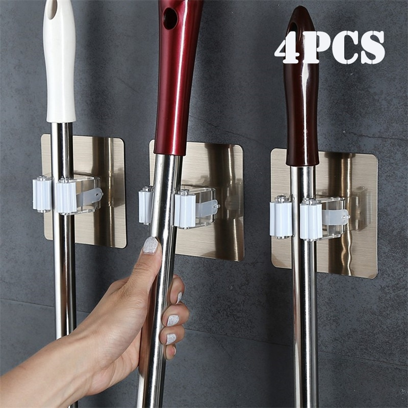 2/4pcs Adhesive Multi-Purpose Hooks Wall Mounted Mop Organizer Holder RackBrush Broom Hanger Hook Kitchen bathroom Strong Hooks