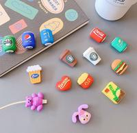 50 teile/los Saft Lebensmittel Cartoon Usb Ladegerät Kabel Wickler Protector für iPhone USB Kabel Ladegerät Protector Telefon Halter