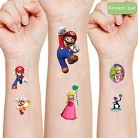 Super Mario Bros Original Waterproof 3D Tattoo Sticker Random 1PCS Anime Figures Mario Cartoon Kids Toys for Children Party Gift