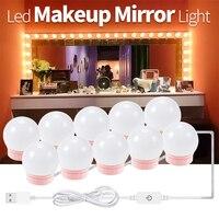 USB DC 12V LED 거울 램프 밝기 조절 드레싱 테이블 램프 14 전구 키트, 할리우드 스타일 LED 메이크업 조명 침실