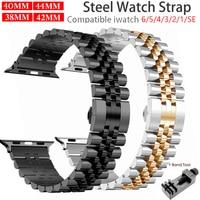 Apple Watch 6 SE 5 4 3 용 스테인레스 스틸 스트랩 38mm 40mm 42mm 44mm, 메탈, 교체 팔찌, 스포츠 밴드, iWatch 6 5 3