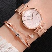 여성 쿼츠 아날로그 손목 작은 시계 럭셔리 캐주얼 팔찌 시계 마그네틱 팔찌 금속 스트랩 스테인레스 스틸 스트랩