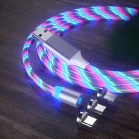 1M 2M USB 전화 충전 케이블 흐르는 빛 충전 코드 마이크로 usb 유형 c에 대 한 Led 와이어 조명 된 빠른 충전기 케이블